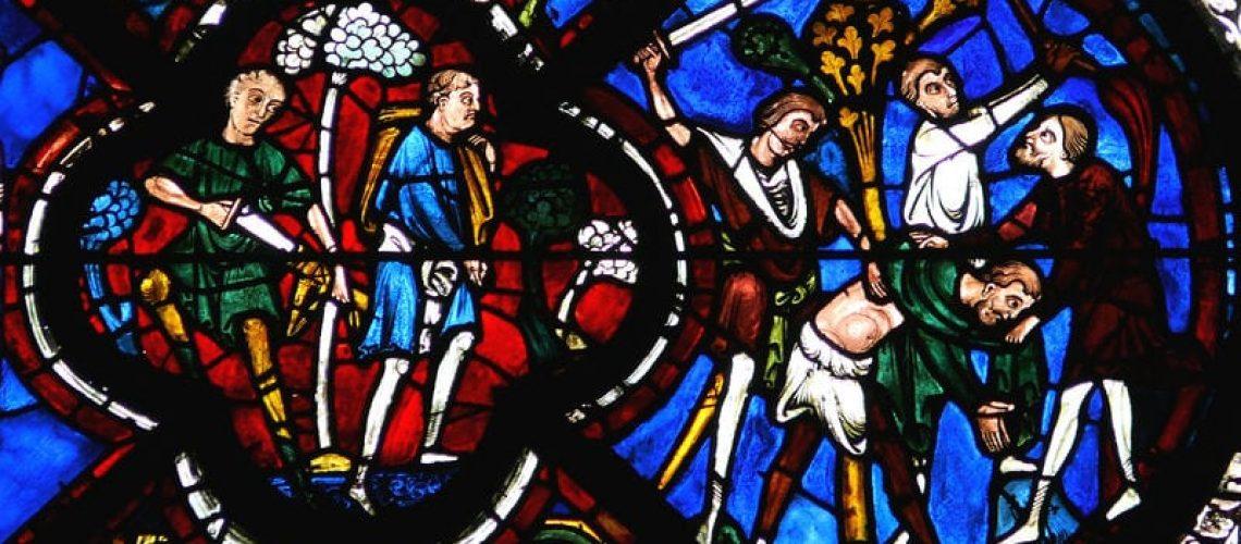 Vitrail de la Parabole du bon samaritain, cathédrale de Chartres